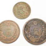 3枚の明治銅貨
